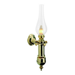 "Weems & Plath Gimbal Electric Lamp - One of the most common complaints we hear about lighting on a boat is that it isn't bright enough. This lamp, although modeled after the traditional oil lamps of the same style, gives off ample light because it uses a 100v bulb. It's dimensions are: 17.38"" tall x 6.25"" deep. The light source is 110v electric with a 100 watt max. bulb. It weighs 2 lbs. 3 oz. The distinctive style, quality, timeless design and lasting beauty of this lamp will enhance the decor of any home or ship's cabin. If you want a modern lamp with distinctive antique flavor then look no further."