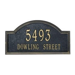 Providence Classic Arch Address Plaque by Whitehall - This is the Providence Classic Arch Address Plaque by Whitehall.  This address plaque is available in black, bronze, pewter and stucco.  This address plaque can be mounted on the wall, or in your yard with the included lawn stakes.  Available from http://www.justaddressplaques.com with free shipping.