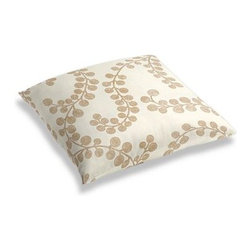 Metallic Gold Swirl Branch Custom Floor Pillow - A couch overflowing with friends is a great problem to have.  But don't just sit there: grab a Simple Floor Pillow.  Pile em up for maximum snugging or set around the coffee table for a casual dinner party. We love it in this stunning swirling branch pattern handprinted in metallic gold gray on cream cotton. A fresh centerpiece to any style room, from contemporary to classic.