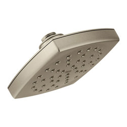 """Moen - Moen S6365BN Voss Series Rain Shower Head, Immersion Technology (Brushed Nickel) - This 6"""" rainshower shower head features a crisp, clean style that blends into any bath decor, and Moen's advanced, self-pressurizing Immersion Rainshower technology that channels water through the showerhead with 3 times the spray power than most rainshowers, for a more thorough rinse. This model comes in a beautiful, Brushed Nickel finish, and a 2.5 GPM flow rate."""