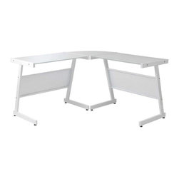 """Eurostyle - Eurostyle Luigi L Desk in White & Pure White Glass Top - L Desk in White & Pure White Glass Top belongs to Luigi Collection by Eurostyle Heavy powder epoxy coated steel frame. Modesty panels, perforated metal. Tempered smoked or white printed glass top. Adjustable feet. Glass top 20"""" deep. Desk (1)"""