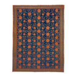 "Vibrant Hand-Woven Traditional Hamadan Rug, 7'10"" X 9'10"" - This traditional Hamadan rug was woven in China, and its heritage and quality shine through. Deep blue with red and green details, this warm traditional rug has a more modern feel due to its vibrant design."