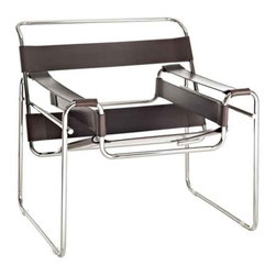 Modway - Slingy Chair In Genuine Brown Leather - Eei-563-Brn - Chrome-Finished Frame