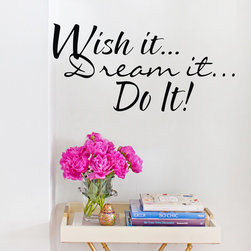 ColorfulHall Co., LTD - Wall Decals For Kids Wish It Dream It Do It - Wall Decals For Kids Wish It Dream It Do It