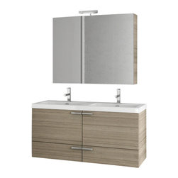 ACF - 47 Inch Larch Canapa Bathroom Vanity Set - Need a bathroom vanity? This one is a wall mounted contemporary & modern bath vanity that will fit perfectly into your contemporary master bath. Made in and imported from Italy by ACF, this designer bathroom vanity is built with high-quality engineered wo