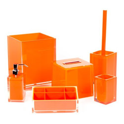 Gedy - Orange Bathroom Accessory Set in Thermoplastic Resin - A sensible piece for a high-end or contemporary personal bath, this free stand bath accessory set is the perfect option. Imported from italy with very high quality steel and thermoplastic resin and available in orange, this bath accessories set is part of the Gedy Rainbow collection. High-End orange bath accessory set. Contemporary free stand bathroom accessories set. For contemporary settings. From the Gedy Rainbow collection. Imported from Italy.