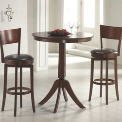 Hillsdale Furniture - Hillsdale Plainview 3 Piece Pub Table Set w/ Archer Barstools - The Archer bistro set  in a brown finish  features 360 degree swivel barstools with dark brown faux leather seats  a transitional arched back design and simple  tapered and slightly flared legs. The bar height table compliments the barstools with a slender pedestal base  flared legs  and a round top with a generous apron. Composed of hardwoods and climate controlled wood composites  minor assembly required.