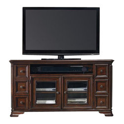 "Hooker Furniture - Haddon Hall 64"" Entertainment Console - White glove, in-home delivery included!  Old world charm comes shining through with the Haddon Hall collection.  Crafted with poplar solids and cathedral knotty cherry veneers it adds just the right touch to your home.  One center channel speaker area, six drawers, top two drawers have removable CD/DVD dividers, two wood-framed beveled glass doors with an adjustable shelf behind each door, one three plug electrical outlet.  Center channel speaker opening: 37 15/16"" w x 18 7/16"" d x 6"" h"