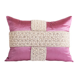 Pyra & Co - Maala Pillow, 14x20 - A regal and stately effect is transpired by hand-beaded pearls and crystals that boldly crisscross an elegant Radiant Orchid Color silk background. Due to the handmade nature of each product, pieces may vary slightly and have imperfections.  These are elements that showcase the true beauty of truly being crafted-by-hand.