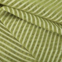 Striscia Sheer Stripe Drapery Fabric in Avocado - Striscia Sheer Stripe Drapery Fabric in Avocado is a bright green drapery fabric with a small scale stripe pattern. Ideal for window treatments or canopies, this contemporary fabric has a great quality and price! Made from a blend of 80% linen and 20% cotton. Passes 3,000 double rubs. Cleaning code: S. Width: 59″