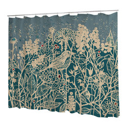 Uneekee - Uneekee Hedge Bird Shower Curtain - Your shower will start singing to you and thanking you for such a glorious burst of design as you start your day!  Full printing on the front and white on the back.  Buttonhole openings for shower rings.