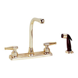 Renovators Supply - Kitchen Faucets Bright Brass High Neck Kitchen Faucet W/ Sprayer - Kitchen Faucets: This brass kitchen faucet features solid brass handles and measures 10 1/2 in. high. Does not include pop-up drain.