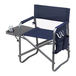 Picnic at Ascot - Camping Chair w Table and Organizer (Red) - Color: Red. Includes fold up table with drink holder, removable organizer and removable shoulder strap. Folding sport chair with 20.5 in. wide seat. Weight Limit: 275 lbs.. Padded arm rest. 24.5 in. W x 19.5 in. D x 32 in. H (8 lbs.)
