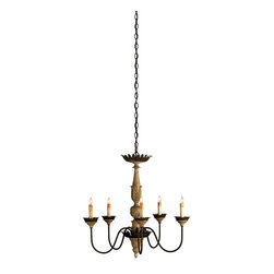 Currey & Co - Currey & Co 9255 Innocence Washed Wood 5 Light Chandelier - 5 Bulbs, Bulb Type: 60 Watt Candelabra; Weight: 10lbs