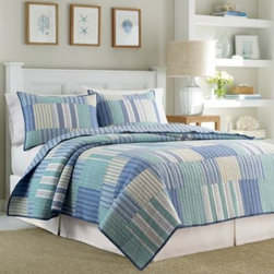 Nautica - Nautica Belle Isle Quilt - The Belle Isle quilt brings elegant style and superior comfort to your bed. Its beautiful print and yard dye palette of aqua, blue and white stripes inspires a sense of calm and serenity.