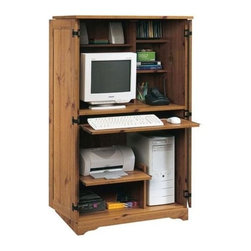 Sauder - Sugar Creek Computer Armoire in Spiced Pine F - 2 Adjustable shelves provide versatile storage options. Space-saving cabinet conceals monitor, printer, CPU, speakers, and CDs. Slide-out keyboard, mouse shelf and printer shelf with metal runners and safety stops. Dedicated storage area accommodates vertical CPU tower. Horizontal rack holds 14 CDs. Made of engineered wood. Assembly required. 62 in. W x 21 in. D x 54 in. H