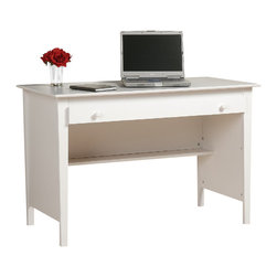 Prepac - Prepac Belcarra Series Contemporary Wood Laptop Desk in White - Prepac - Writing Desks - WWD4730 - The Prepac Contemporary Desk is a simple and stylish desk that is ideal for a study den dorm or guest room. It includes a large work surface and a wide roll-out drawer with ample storage for your papers office supplies or your laptop. The drawer runs on smooth roller glides. Square brushed nickel knobs complement the angular lines of the tapered legs to give this desk a retro-modern style. The back of the desk is finished so that it can be placed anywhere in a room. Constructed from a combination of high quality laminated composite woods it offers extremely good value for stylish yet budget conscious buyers.
