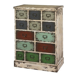 Powell - Powell Parcel 13 Drawer Cabinet Multicolor - 990-333 - Shop for Home Furnishings and Accents from Hayneedle.com! In the spirit of school rooms post offices and libraries past the Powell Parcel 13 Drawer Cabinet puts old-school charm into organization. Crafted with durable wood and vintage-inspired antique metal label holders and pulls this quirky cabinet has a highly distressed white finish. Thirteen multi-shaped drawers have muted multicolored fronts also highly distressed for extra character. Ideal for kids' rooms craft areas and home offices.