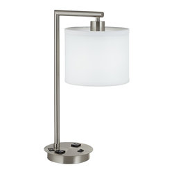 """Lamps Plus - Contemporary Coley Brushed Steel USB Port Desk Lamp with Power Outlets - Workstation desk lamp with power outlets. Brushed steel finish. Metal construction. White sandstone linen shade. USB power port on base. Two convenience power outlets on the base. Black on/off rocker switch. Includes 26 watt CFL GU24 base bulb. Dedicated GU24 socket. 20 1/2"""" high. 8 1/2"""" wide. 12 1/4"""" deep. Shade is 8 1/2"""" across the top and bottom 7"""" high. 7"""" wide base.  Workstation desk lamp with power outlets.  Brushed steel finish.  Metal construction.  White sandstone linen shade.  USB power port on base.  Two convenience outlets on the base.  Black on/off rocker switch.  Includes 26 watt CFL GU24 base bulb.  Dedicated GU24 socket.  20 1/2"""" high.  8 1/2"""" wide.  12 1/4"""" deep.  Shade is 8 1/2"""" across the top and bottom 7"""" high.  7"""" wide base."""