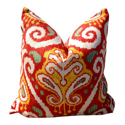 PillowFever - Red Ikat Pillow Cover - Pillow insert is not included!