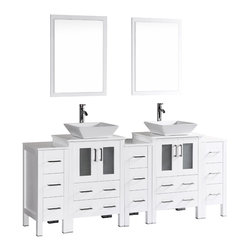 """Bosconi - 84"""" Bosconi AB224S3S Double Vanity, White - The elegant concept of your design perspective will be made clear with this large 84"""" glossy white Bosconi double vanity set. The ceramic, square vessel sinks bring a modern feel while the perfectly coordinating mirrors pull the look together. Features include two spacious cabinets with soft closing doors, as well as, three detached side cabinets with three pull out drawers each. Plenty of space to efficiently accommodate towels, toiletries and bathroom accessories."""