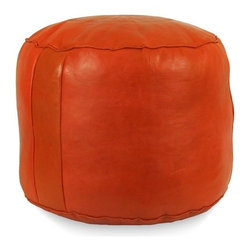 Somoroccan - Moroccan Pouf, Dark Orange - Beautifully handmade, this genuine leather square pouf will add an exotic natural touch to any space.  It comes in a variety of colors and comes alread stuffed with filling fiber.
