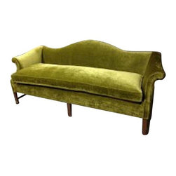 Pre-owned Vintage Green Velvet Sofa - It aint easy being green! This gorgeous vintage sofa has been reupholstered in a rich green velvet and has a separate top cushion. Very solid, beautiful statement piece.