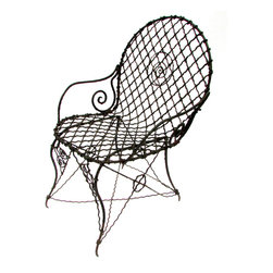 "Consigned Antique Wrought Iron Armchair - Crimped iron hand-wrought antique garden armchair. Provenance: Richthofen Castle in Denver, Colorado built by a member of the family of the famous ""Red Baron"" WWI fighter pilot."