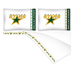 Sports Coverage - NHL Dallas Stars Hockey Queen Bed Sheet Set - Features: