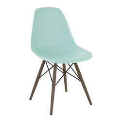 Design Lab MN - Mid Century Surfin Side Chair with Walnut Wood Base (Set of 5) - Based on the classic Eames DSW side chair designed in 1950 by Ray and Charles Eames. Our Mid Century Side Chair is a high quality reproduction made from polypropylene with dark brown base legs, this contemporary version of the legendary DSW chair is both stylish and comfortable.