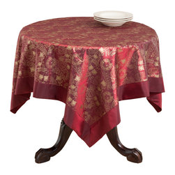 None - Printed Glittery Table Topper - This beautiful table topper is designed with a beautiful floral print. This topper is made from machine-washable polyester for easy clean-up.