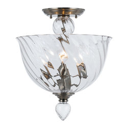 Crystorama - Crystorama 9843-CH-CL Harper 3 Light Semi-Flush Mounts in Polished Chrome - The Harper Collection is modern, with clear hand blown glass on a polished chrome frame. The effect is contemporary, but with a clear nod to the provisional - making lighting in the Harper collection particularly well suited to the transitional interiors favored by many homeowners.