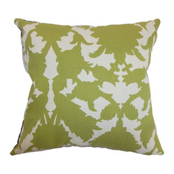 "The Pillow Collection - Fakahina Damask Pillow Kiwi - This 100% soft cotton pillow is something you would love to place on your sofa or sectional. This accent pillow is a perfect accessory to welcome your guests and make them feel comfortable. This decor pillow comes with a classic damask print pattern in Kiwi Green and white. Add this 18"" pillow to your collection of decor pillows and bring a calming effect to your interiors. Hidden zipper closure for easy cover removal.  Knife edge finish on all four sides.  Reversible pillow with the same fabric on the back side.  Spot cleaning suggested."