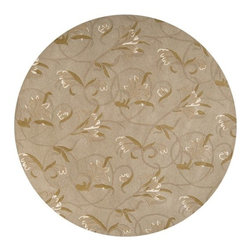"Surya Rugs - Goa G44 Wool Rug in Beige w Swirling Floral Pattern (7 ft. 9 in. Round) - 100% New Zealand Wool. Style: Transitional. Rugs Size: 7'9"" Round. Note: Image may vary from actual size mentioned."