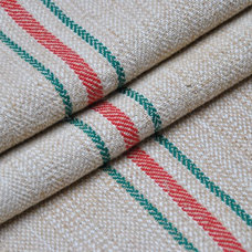 Traditional Fabric Vintage grain sack - green outer stripes and a red central stripe
