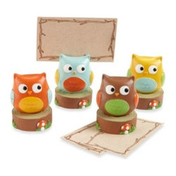 "Kate Aspen - Baby Owl ""Whoo's the Cutest"" Assorted Place Card/Photo Holders (Set of 4) - Four adorable owlets are looking at each other to decide whooo's the cutest! Or maybe they're looking for the adorable baby you're celebrating. You simply have to make room on your baby shower tables for this cute baby owl quartet that says ""Thank Yoooo!"""