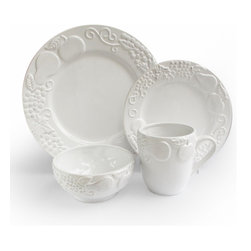 Jay Import Co - Frutta 16 Piece Dinnerware Set, White - Talk about a fruit plate! A charming relief of apples, pears and grapes adorn these dishes (16 pieces, a full service for four) to bring unique charm to your table. Now, if you could only get your crew to eat their vegetables!