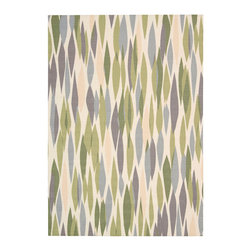 """Waverly - Waverly Sun & Shade SND01 5'3"""" x 7'5"""" Violet Area Rug 14761 - An overlapping myriad of multicolored diamond shapes grace this smart, modern Waverly Bits & Pieces rug by Nourison. A palette of aqua, bisque, soft cream and olive green makes this rug the perfect piece to go poolside, on the patio, or in an interior space."""