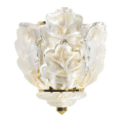 Lalique - Lalique Oak Wall Sconce Gilded Us - Lalique Oak Wall Sconce Gilded Us 1001999  -  Size: 9.64 Inches Long x 11.61 Inches Tall  -  Genuine Lalique Crystal  -  Fully Authorized U.S. Lalique Crystal Dealer  -  Created by the Lost Wax Technique  -  No Two Lalique Pieces Are Exactly the Same  -  Brand New in the Original Lalique Box  -  Every Lalique Piece is Signed by Hand, a Sign of its Authenticity and Quality  -  Created in Wingen on Moder-France  -  Lalique Crystal UPC Number: 090592100196
