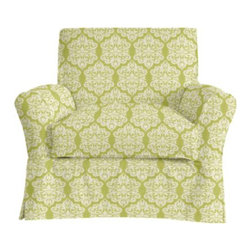 Hollis Chair Slipcover in Ikat Medallion - Adding slipcovers to your pre-existing furniture is a great way to makeover the space without spending a lot. I really like this Ikat Medallion slipcover by Ballard Designs.