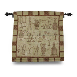 Zeckos - Brown and Tan Cheers Glasses and Carafes Tapestry Wall Hanging with Rod 2 - This tan and brown 'Cheers' woven tapestry wall hanging adds a fun accent to your home perfect for the dining room, bar area, wine cellar or sheltered outdoor entertaining area. It measures 26 inches long by 26 inches high (66 X 66 cm), and features various drink glasses and carafes. It includes the mounting hardware, a sewn-in bottom rod for weight to keep it looking nice on the  wall, and a black top hanging rod with decorative finials. The front is made of a cotton/polyester blend with a 100% cotton backing, and is recommended to dry clean or spot clean only. This piece is a cheerful accent for your home that's a wonderful gift for both friends and family, and is proudly made in the U.S.A.