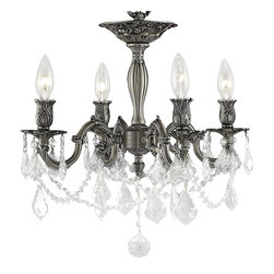 Elegant Lighting - 9204 Rosalia Collection Pewter Finish Royal Cut Crystals Flush Mount - Elegant lighting for gracious living, Rosalia chandeliers are a lustrous departure in crystal design.  Beginning with the solid brass sculptured and finely detailed frame, this series may be dressed up or down to fit in many rooms.