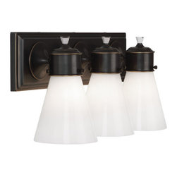 """Robbert Abbey - WILLIAMSBURG Blaikley Triple Wall Sconce, Deep Patina Bronze - 3-60W Max.  Bulb Type: A.  Direct Wire Only.  Comes in Brushed Nickel, Polished Chrome, Polished Nickel, or Deep Patina Bronze Finish.  Cased White Glass Shades.  Lead Crystal Finials.  Back Plate Dim: 20 1/4"""" w x 5 1/4"""" d x 1"""" h  Shade Dimensions: 2 1/2"""" w x 5 3/4"""" d x 6 3/4"""" h"""