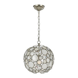 """Crystorama - Crystorama Palla 13"""" Wide Antique Silver Pendant Light - The Crystorama Palla Collection is the perfect balance between vintage and modern. This sparkling pendant light features natural white capiz shells and hand-cut crystals affixed to the antique silver finish wrought iron frame. This fun and elegant lighting fixture will add a fascinating element to your decor. Wrought iron construction. Antique silver finish. Natural white capiz shell. Hand-cut crystals. Takes one 100 watt medium base bulb (not included). 13"""" wide. 14"""" high.  Palla antique silver pendant light.  From the Crystorama Palla Collection.  Natural white capiz shell.   With hand-cut crystals.   Wrought iron construction.   Antique silver finish.   Takes one 100 watt medium base bulb (not included).   13"""" wide.   14"""" high."""