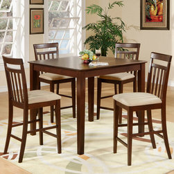 """East West Furniture - East West 5Pc Set with 42"""" Pub Counter Table and 4 Microfiber Seat Stools - East West 5Pc Set with 42"""" Square Pub Counter Table and 4 Microfiber Upholstered Seat Stools; The East-West Pub Set has a cozy, contemporary styling.; Sized to save space, it is a perfect fit for small kitchens or other small areas.; A square-shaped table and counter-height stools feature impressive square legs with clean, smooth lines.; The set is built to last with durable hardwood, tastefully finished in rich oak or deep espresso.; Comfortable slat-back stools, available with wood or upholstered seats, render a relaxing dining experience.; Weight: 138 lbs; Dimensions: Table: 42""""L x 42""""W x 36""""H; Stools: 18""""L x 17.5""""W x 41.5""""H"""