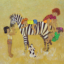"Zoe Zebra from the Little Ones Collection, 34""w X 32""h X 1.5""d with Gallery Wrap - Zoe Zebra has striking stripes and is very playful. Zoe belongs to a series of 3 happy characters including, Theodore Tiger and Eli Elephant. Each are available in 3 sizes; A fine quality art print on canvas, 26""w x 24""h with a 1.5"" gallery wrap, a fine quality art print on canvas, 34""w x 32""h with a 1.5"" gallery wrap and a fine quality art print on watercolor paper, 19"" x 17"" with a 1.25"" maple frame and 2.5"" linen look mat."