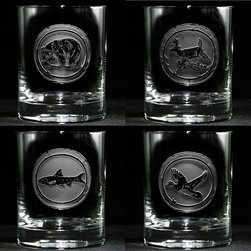 "Crystal Imagery, Inc. - Wildlife Whiskey Glass Set, Bear, Deer, Elk, Fish Scotch Rocks Glass Set - Engraved Wildlife Whiskey Glass Set includes bear, deer, fish, elk and is a great gift idea for the man who loves hunting and the great outdoors and especially for his man cave or basement bar. Deeply carved using our sand carving technique, each whiskey, scotch, bourbon glass is meticulously custom made to order making it the perfect gift for those seeking unique gift ideas for whiskey lovers - men and women alike. At 4.25"" high x 3.4"" wide, our whiskey glasses and scotch glasses hold 13.5 oz. A set of these etched whiskey glasses will be the favorite gift at any special gift giving occasion. Dishwasher safe. SOLD AS A SET OF 4 BAR GLASSES."