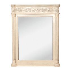 "Hardware Resources - Lyn Design Bathroom Mirror - Antique White Ornate Mirror by Lyn Design 33.6875"" x 42"" antique white mirror with hand-carved details and beveled glass Corresponds with VAN011 and VAN011-T -"