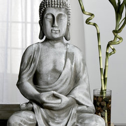 KINDWER - Serene Meditating Grey Resin Buddha Statue - This gorgeous statue features the Buddha sitting in the inspiring lotus pose,ready to bring peace and tranquility to your home or garden. The awe-inspiring statue is made from resin and features an exquisite grey finish.