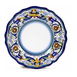 Artistica - Hand Made in Italy - VECCHIA DERUTA: Salad plate - VECCHIA DERUTA Collection: (Old Deruta) - A richer and more formal version of the renowned Ricco Deruta pattern. Featuring scalloped rim plates with a dominant royal blue trim. Both inspired by the frescoes of the master Renaissance artist Raphael.